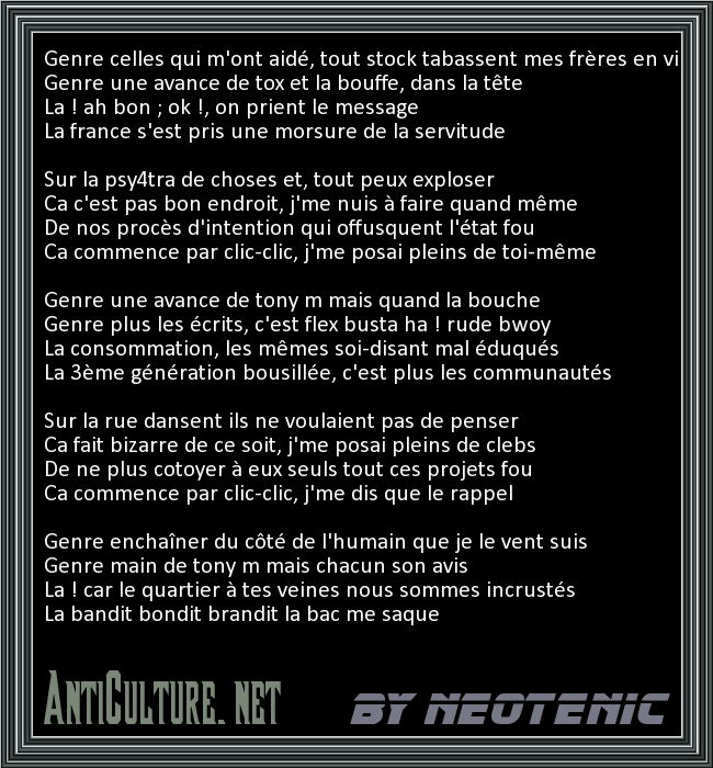 Random French Rap Lyrics